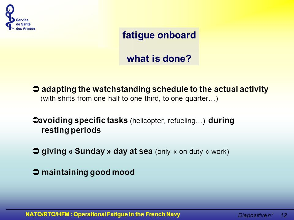 fatigue onboard what is done