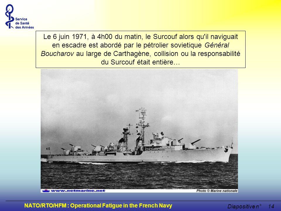 Le 6 juin 1971, à 4h00 du matin, le Surcouf alors qu il naviguait en escadre est abordé par le pétrolier sovietique Général Boucharov au large de Carthagène, collision ou la responsabilité du Surcouf était entière…