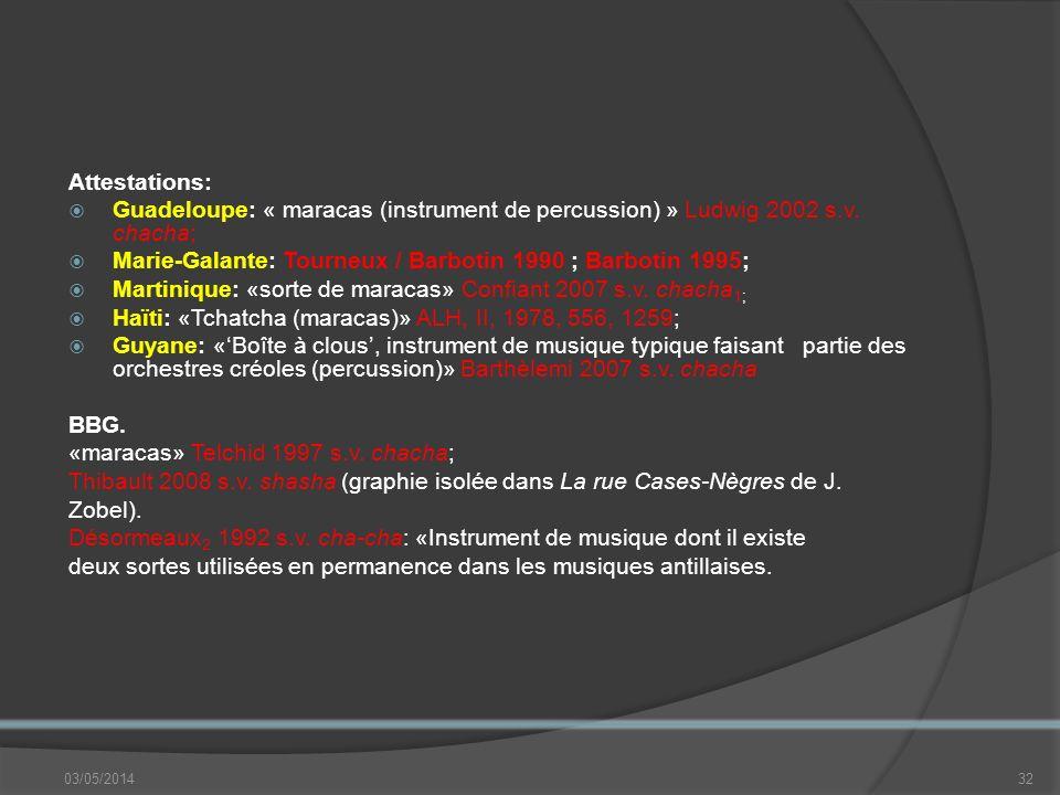 Marie-Galante: Tourneux / Barbotin 1990 ; Barbotin 1995;