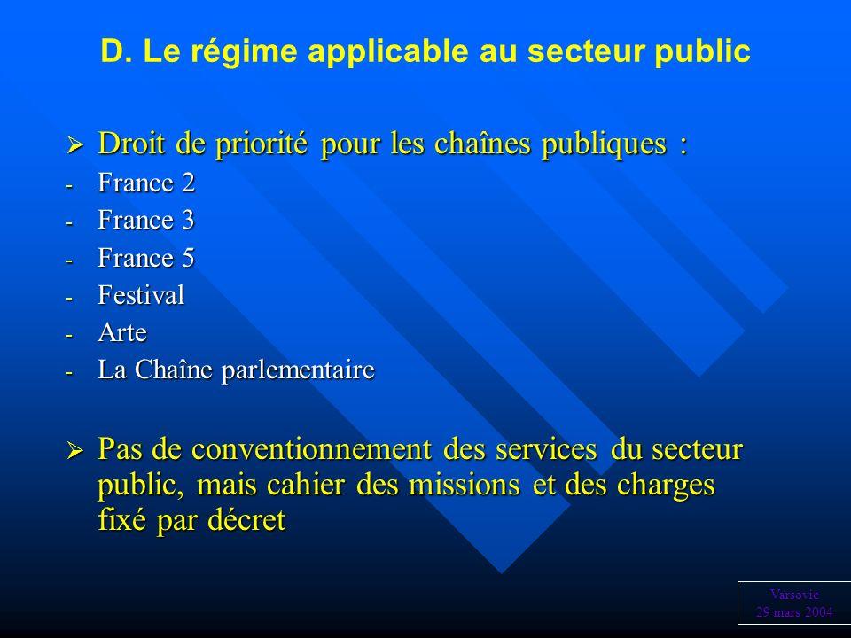 D. Le régime applicable au secteur public