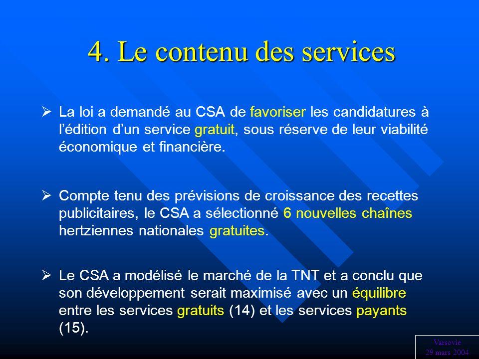 4. Le contenu des services