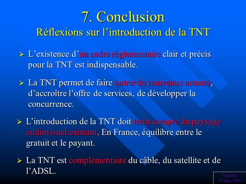 7. Conclusion Réflexions sur l'introduction de la TNT
