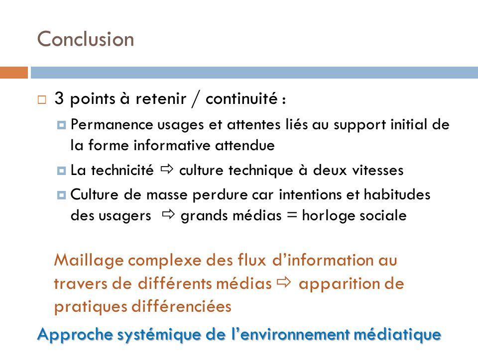 Conclusion 3 points à retenir / continuité :