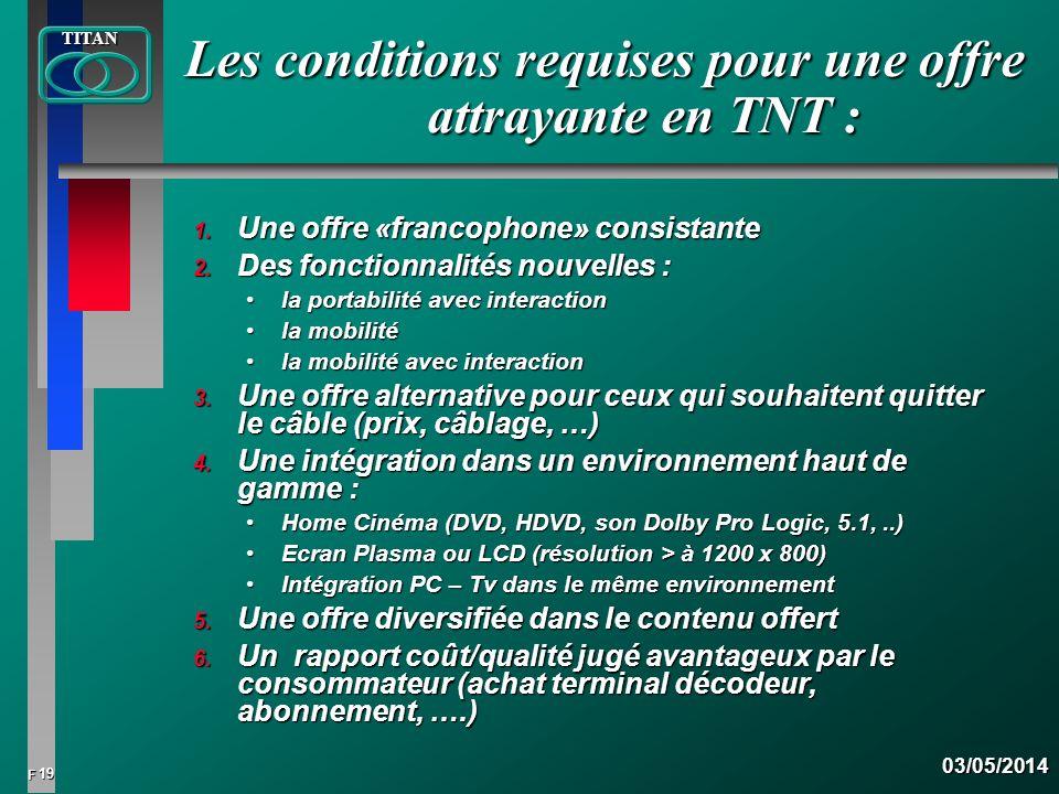 Les conditions requises pour une offre attrayante en TNT :