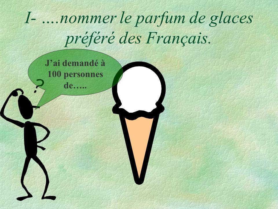 I- ….nommer le parfum de glaces préféré des Français.