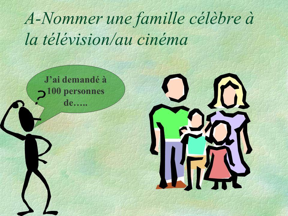 A-Nommer une famille célèbre à la télévision/au cinéma