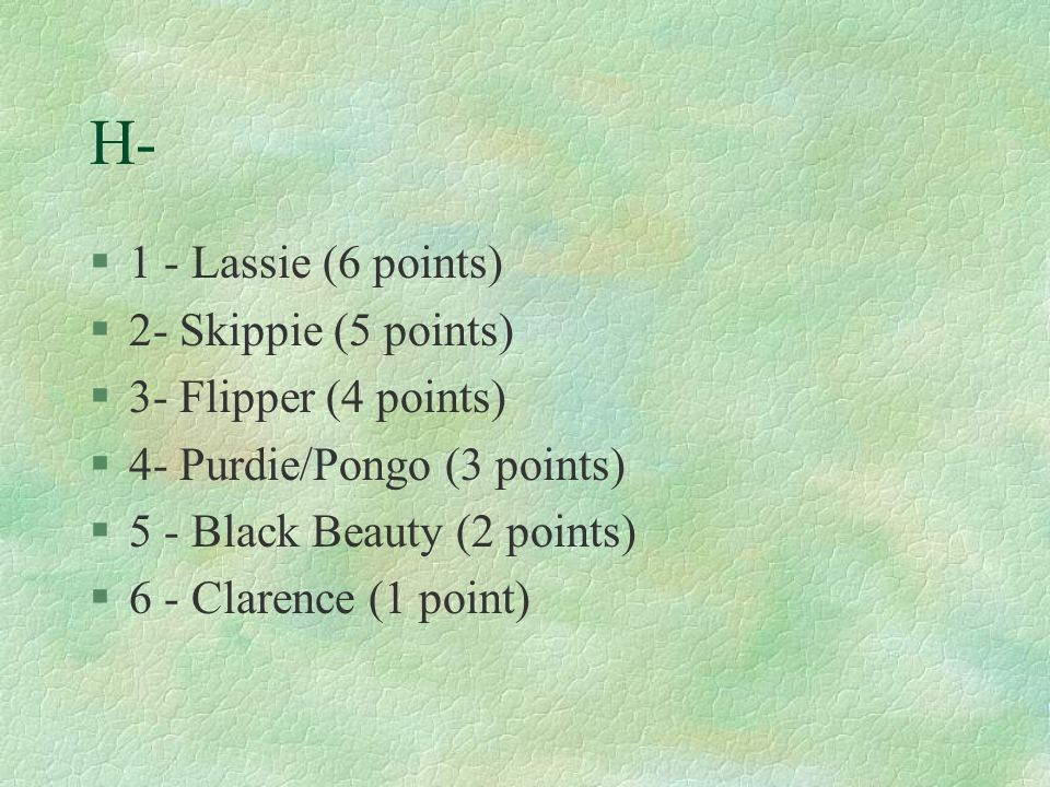 H- 1 - Lassie (6 points) 2- Skippie (5 points) 3- Flipper (4 points)