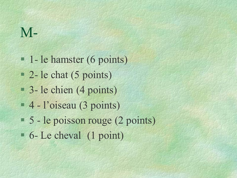 M- 1- le hamster (6 points) 2- le chat (5 points)