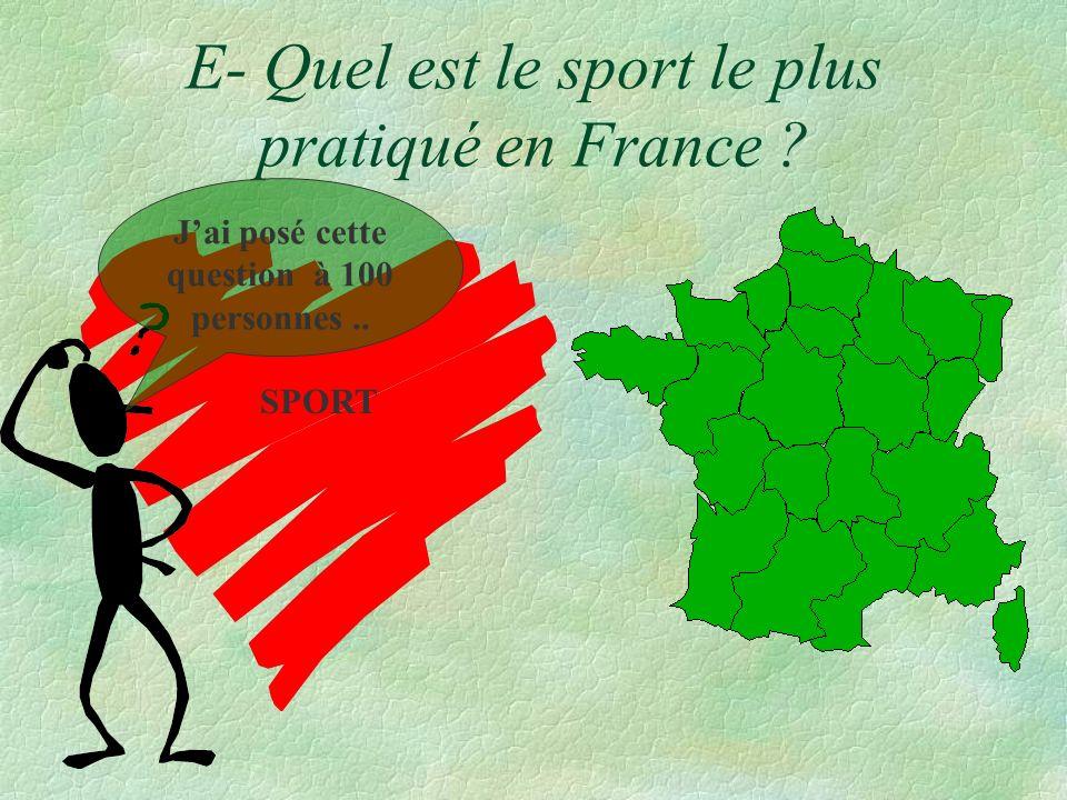 E- Quel est le sport le plus pratiqué en France