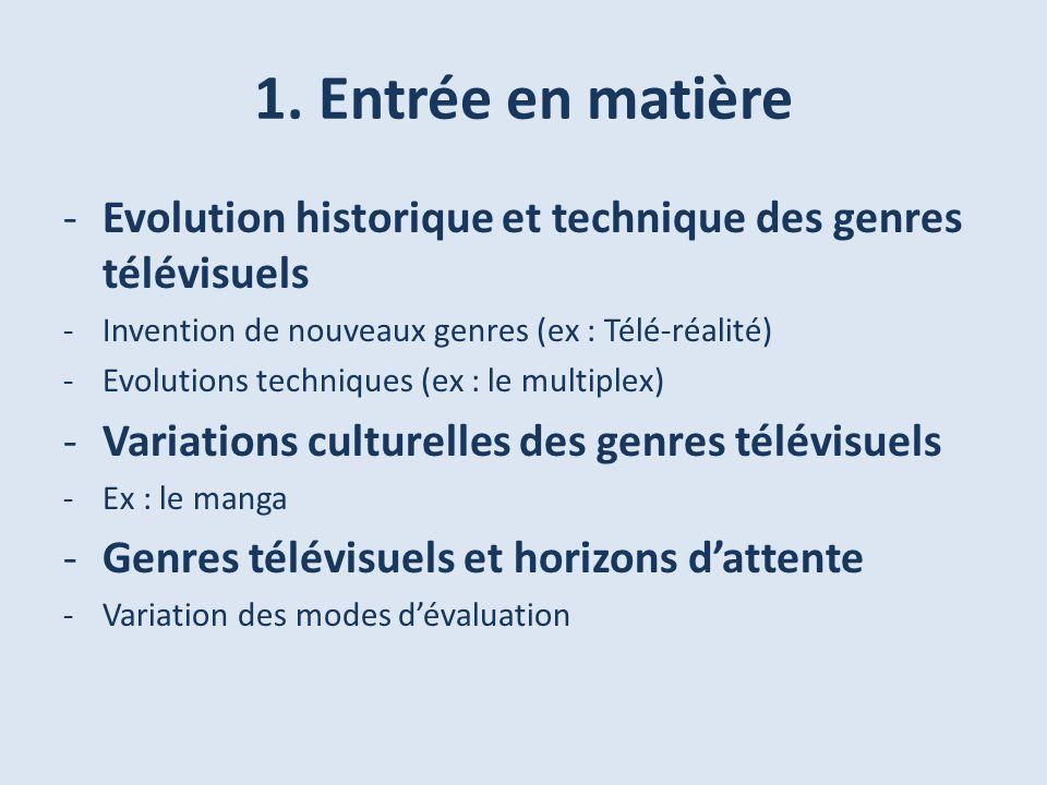 1. Entrée en matière Evolution historique et technique des genres télévisuels. Invention de nouveaux genres (ex : Télé-réalité)