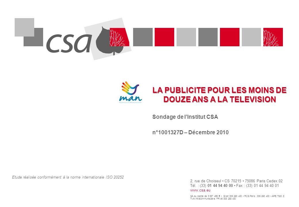 LA PUBLICITE POUR LES MOINS DE DOUZE ANS A LA TELEVISION