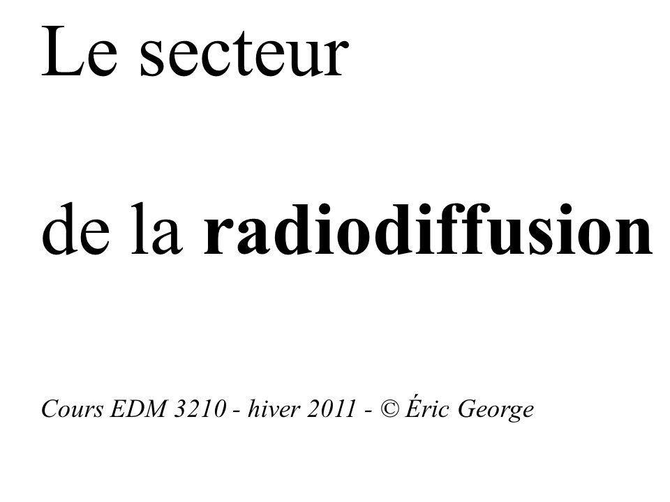 Le secteur de la radiodiffusion