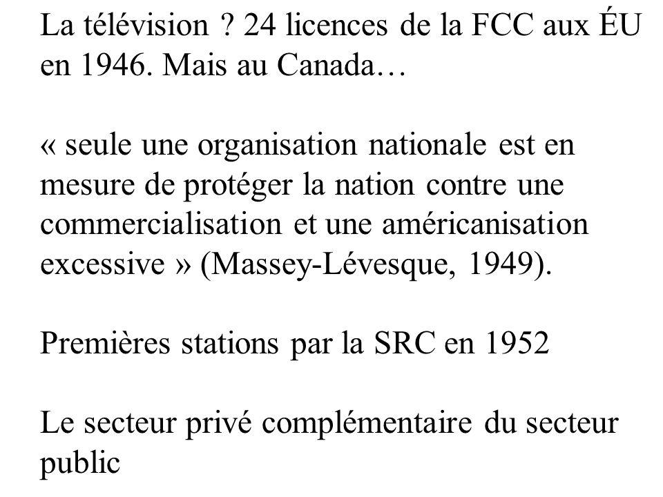 La télévision 24 licences de la FCC aux ÉU en 1946. Mais au Canada…