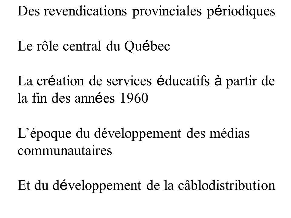 Des revendications provinciales périodiques