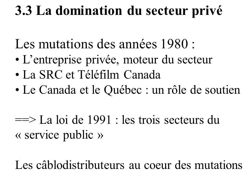 3.3 La domination du secteur privé Les mutations des années 1980 :