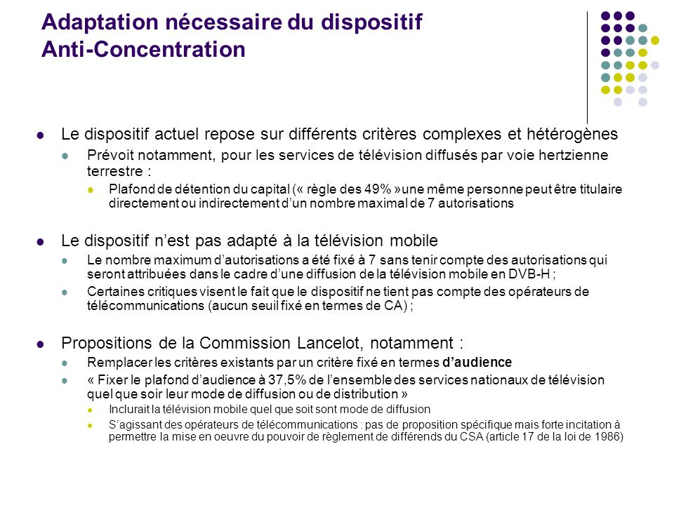 Adaptation nécessaire du dispositif Anti-Concentration