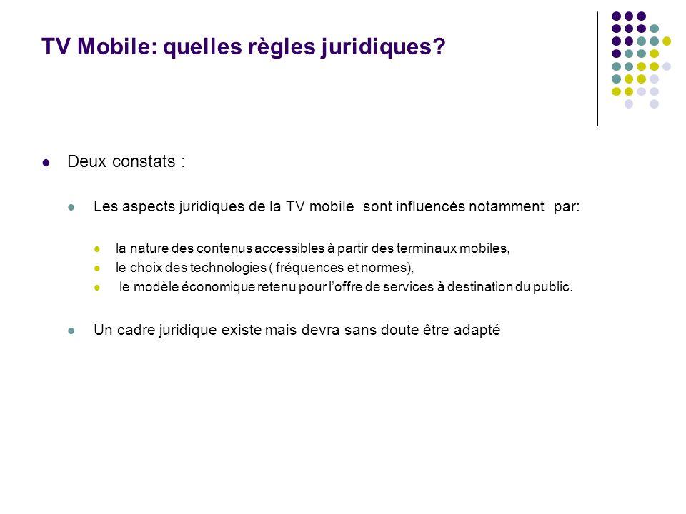 TV Mobile: quelles règles juridiques