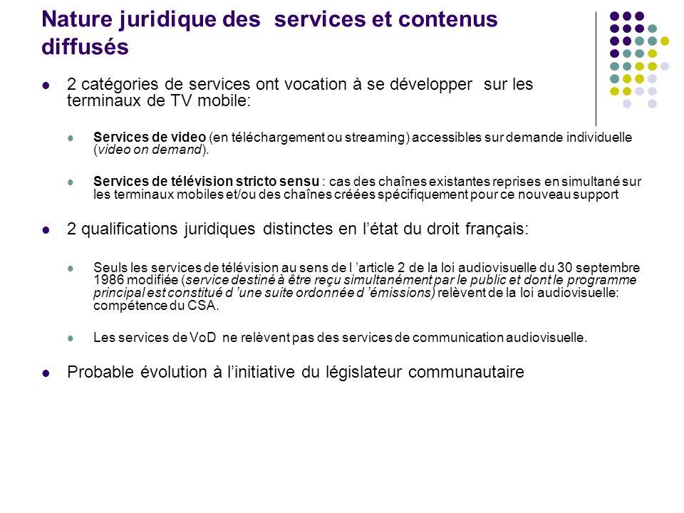 Nature juridique des services et contenus diffusés