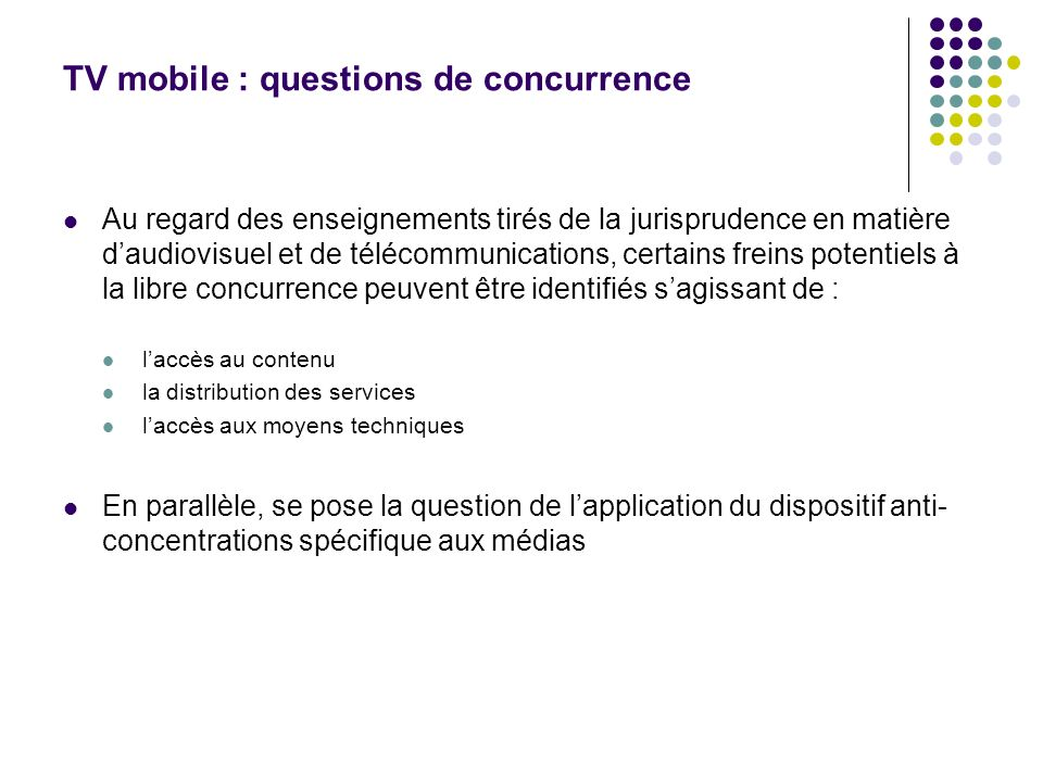 TV mobile : questions de concurrence