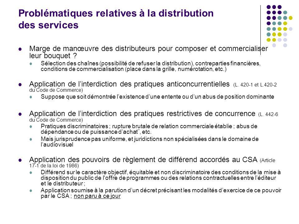 Problématiques relatives à la distribution des services