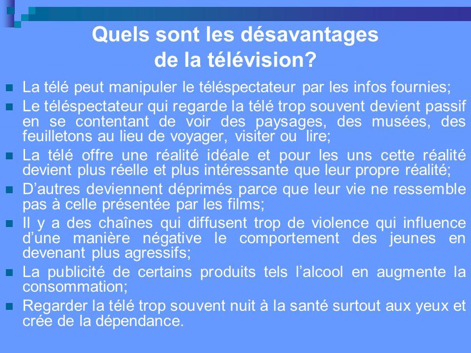 Quels sont les désavantages de la télévision