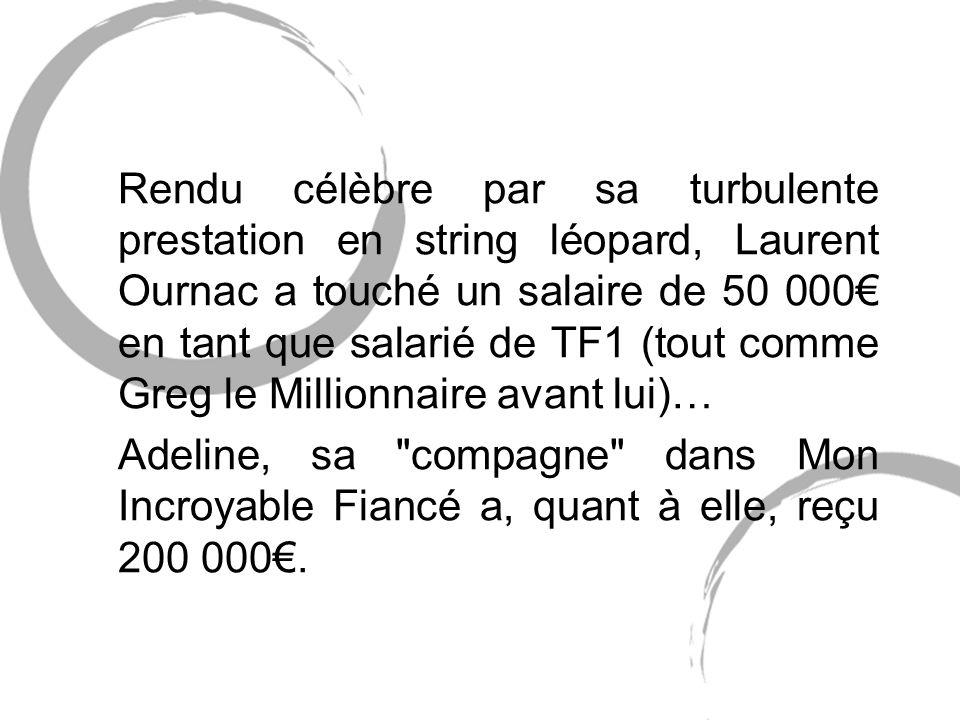 Rendu célèbre par sa turbulente prestation en string léopard, Laurent Ournac a touché un salaire de 50 000€ en tant que salarié de TF1 (tout comme Greg le Millionnaire avant lui)…