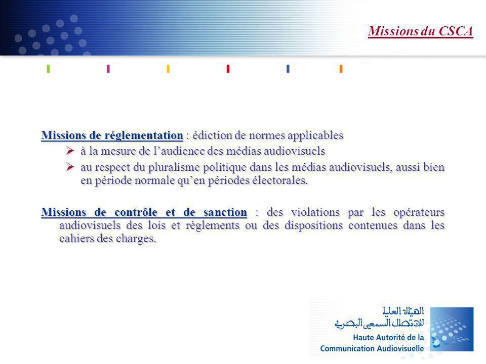 Missions du CSCA Missions de réglementation : édiction de normes applicables. à la mesure de l'audience des médias audiovisuels.