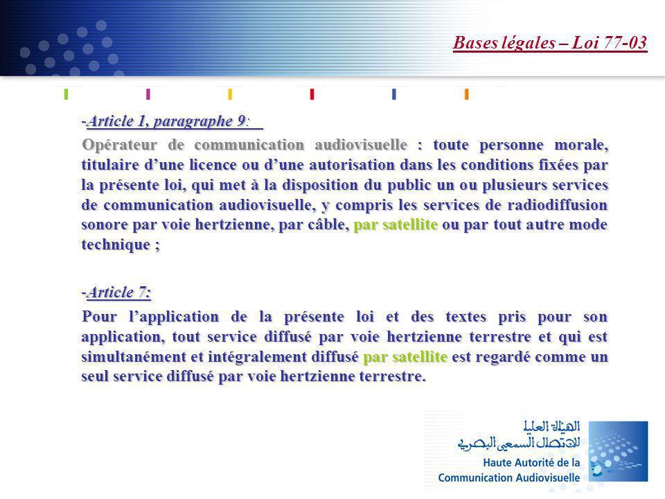 Bases légales – Loi 77-03 Article 1, paragraphe 9: