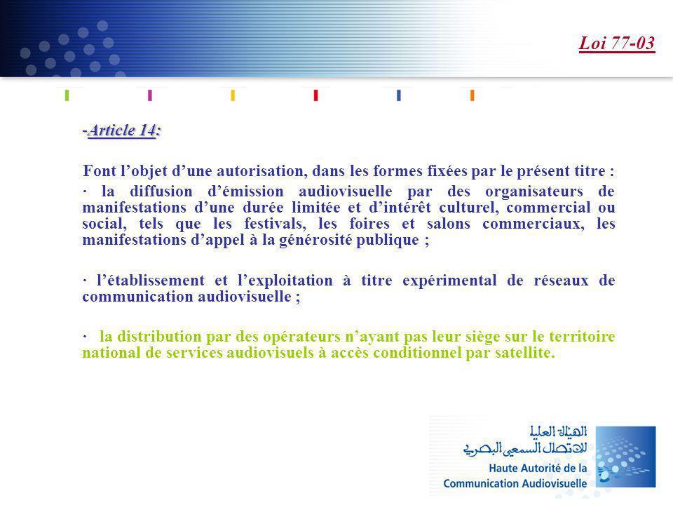 Loi 77-03 Article 14: Font l'objet d'une autorisation, dans les formes fixées par le présent titre :