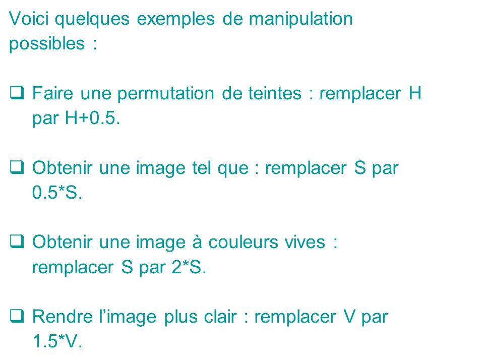 Voici quelques exemples de manipulation