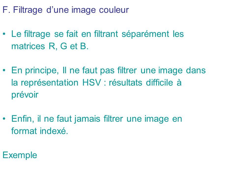 F. Filtrage d'une image couleur