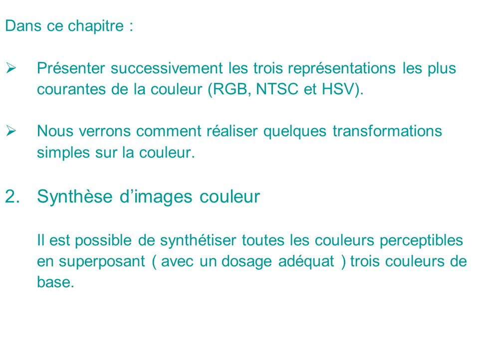 Synthèse d'images couleur