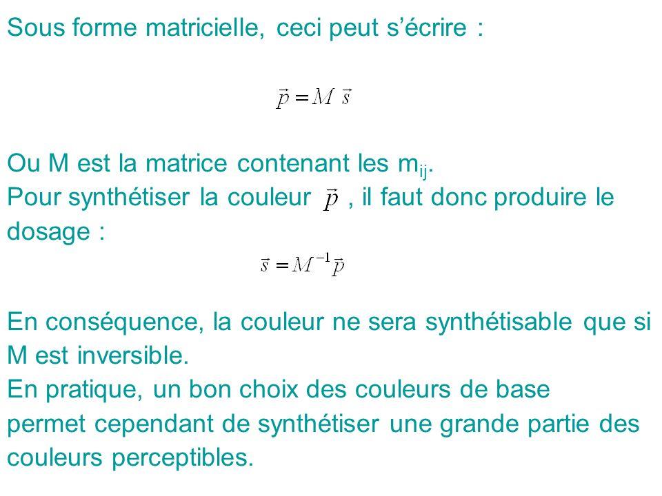 Sous forme matricielle, ceci peut s'écrire :