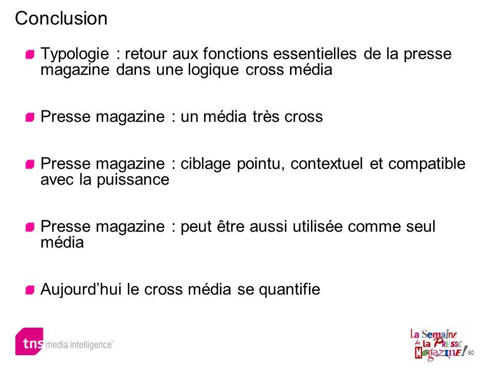 Conclusion Typologie : retour aux fonctions essentielles de la presse magazine dans une logique cross média.