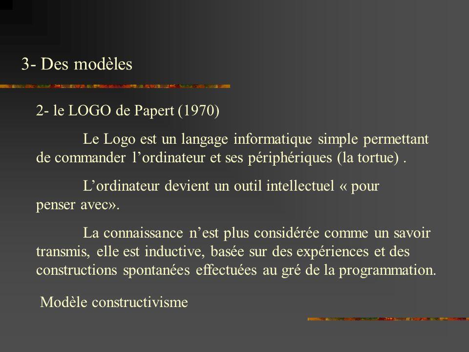 3- Des modèles 2- le LOGO de Papert (1970)