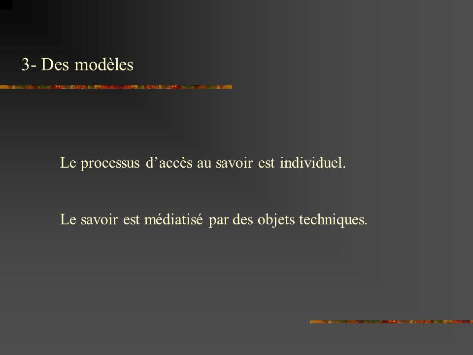 3- Des modèles Le processus d'accès au savoir est individuel.
