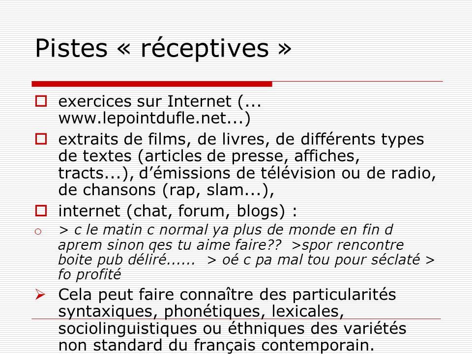 Pistes « réceptives » exercices sur Internet (... www.lepointdufle.net...)