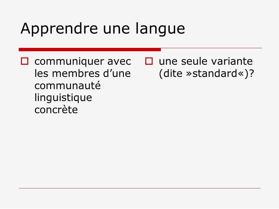 Apprendre une langue communiquer avec les membres d'une communauté linguistique concrète.