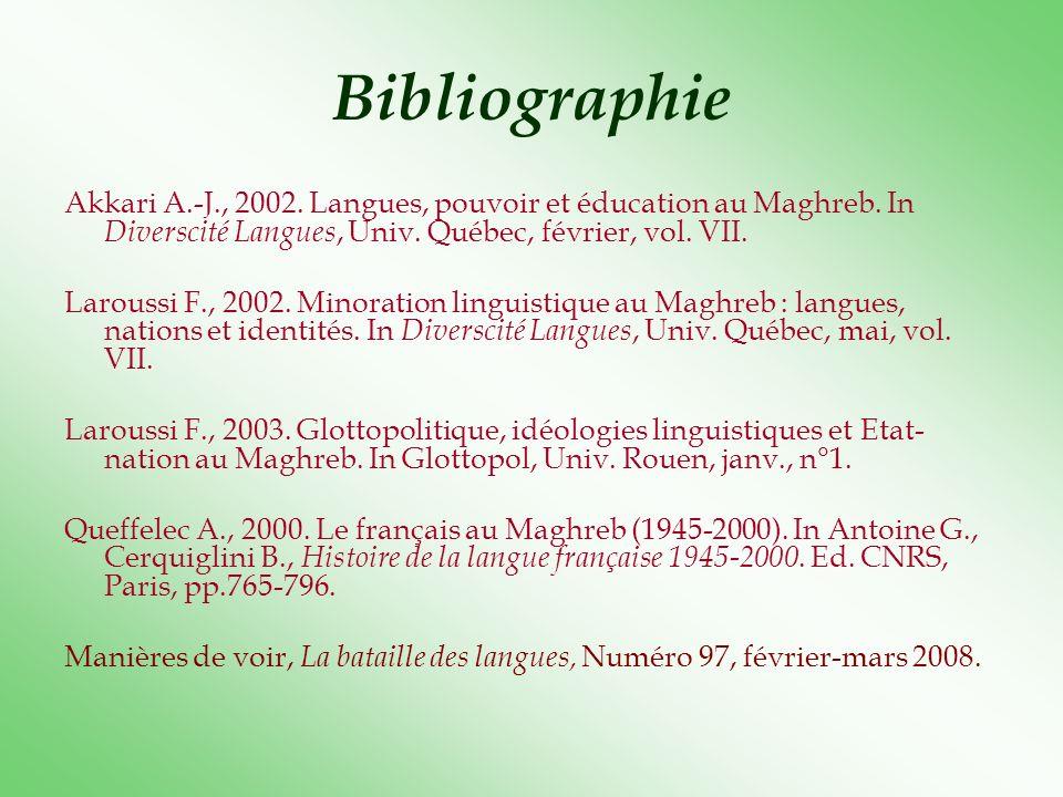 Bibliographie Akkari A.-J., 2002. Langues, pouvoir et éducation au Maghreb. In Diverscité Langues, Univ. Québec, février, vol. VII.