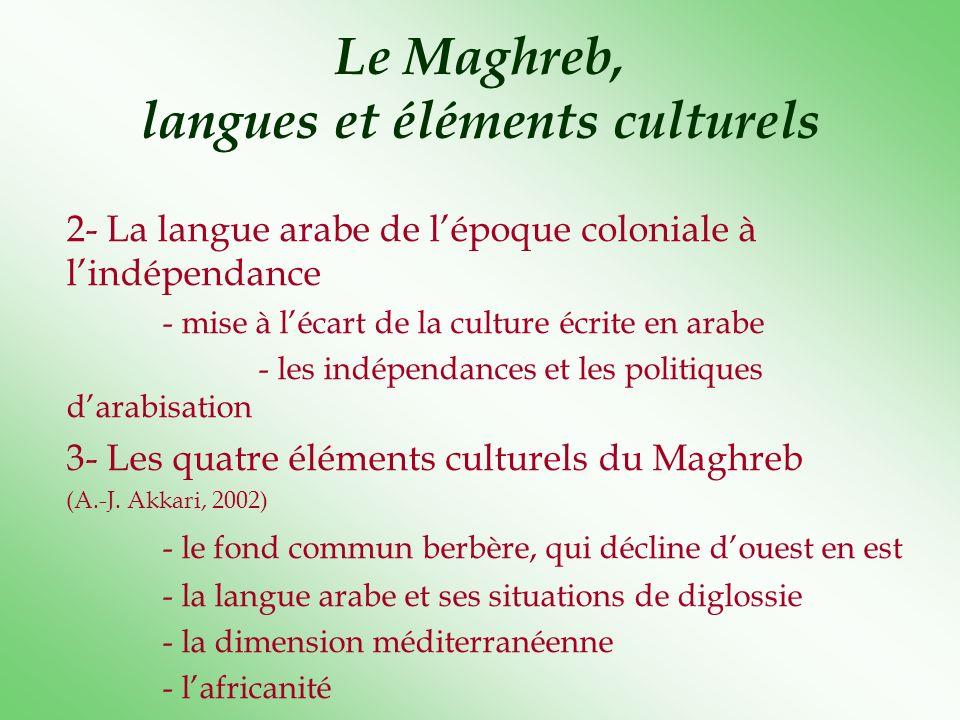 Le Maghreb, langues et éléments culturels