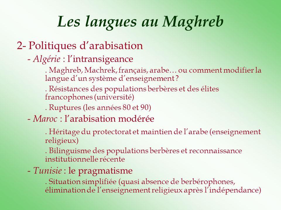Les langues au Maghreb 2- Politiques d'arabisation