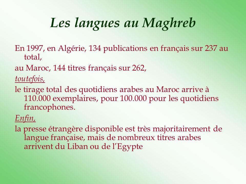 Les langues au Maghreb En 1997, en Algérie, 134 publications en français sur 237 au total, au Maroc, 144 titres français sur 262,