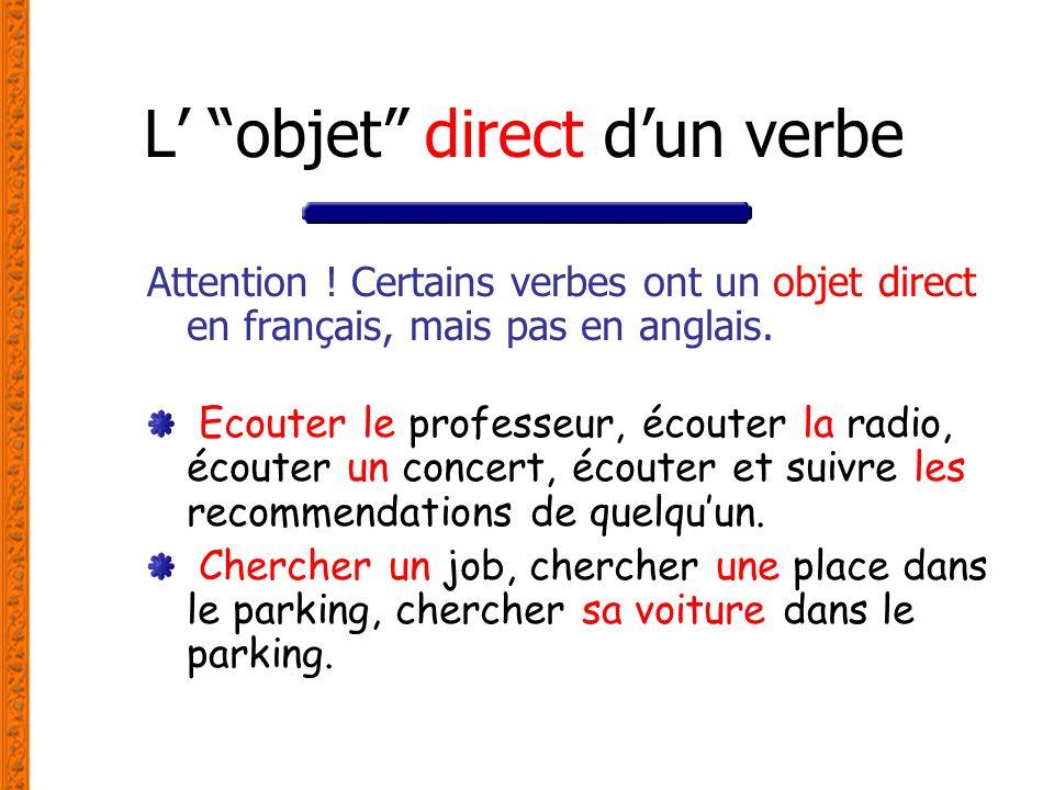 L' objet direct d'un verbe
