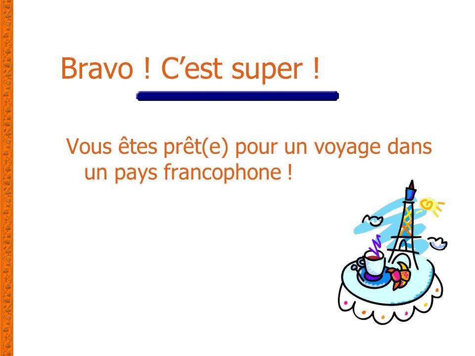 Bravo ! C'est super ! Vous êtes prêt(e) pour un voyage dans un pays francophone !