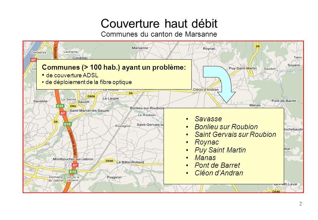 Couverture haut débit Communes du canton de Marsanne