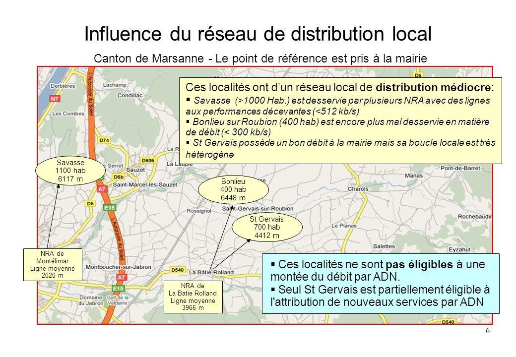Influence du réseau de distribution local Canton de Marsanne - Le point de référence est pris à la mairie