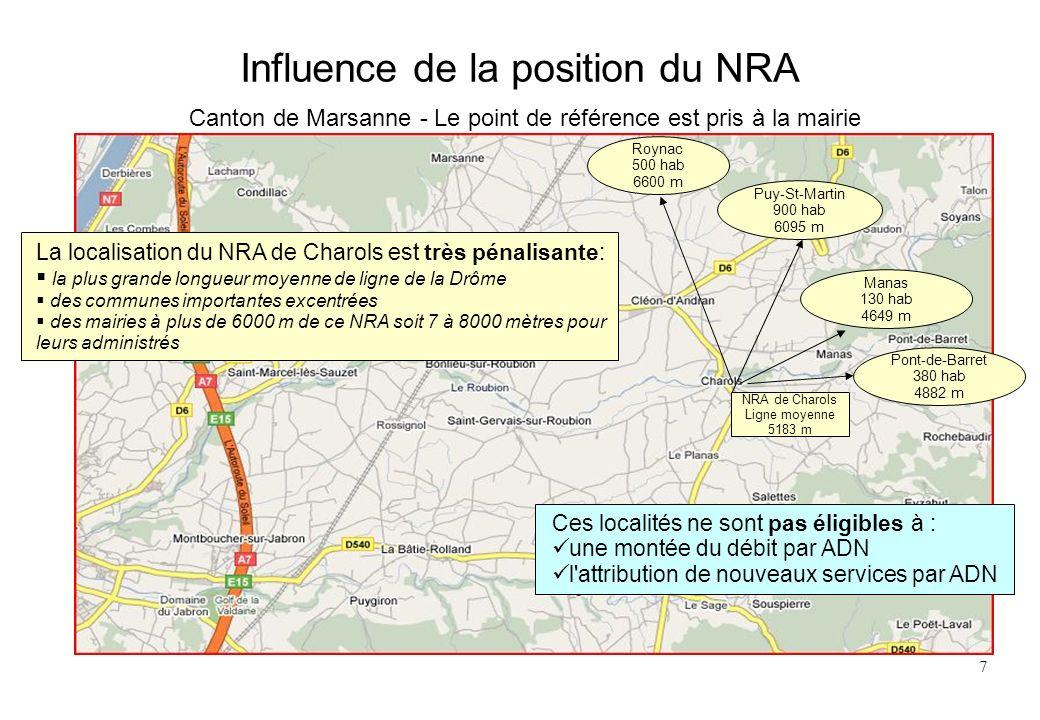 Influence de la position du NRA Canton de Marsanne - Le point de référence est pris à la mairie