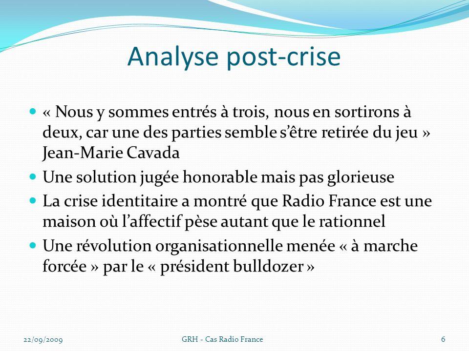 Analyse post-crise « Nous y sommes entrés à trois, nous en sortirons à deux, car une des parties semble s'être retirée du jeu » Jean-Marie Cavada.