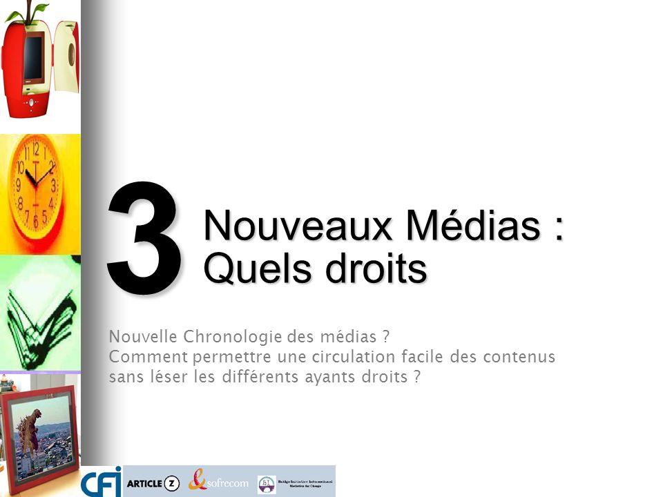 3 Nouveaux Médias : Quels droits Nouvelle Chronologie des médias