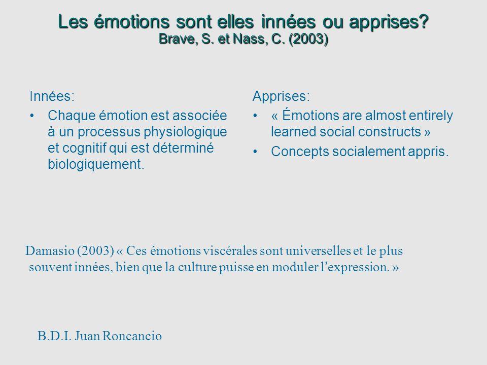 Les émotions sont elles innées ou apprises. Brave, S. et Nass, C